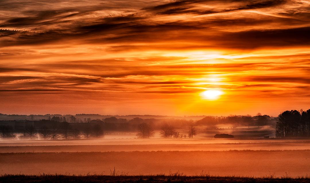 Foggy, sunrise in the morning in Georgia.