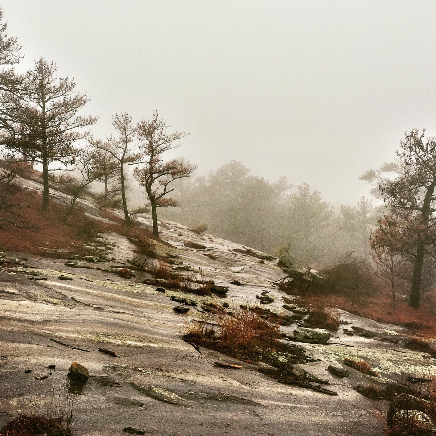 foggy walking trail on Stone Mountain, GA